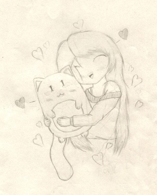 Girl hugs cat - 2014